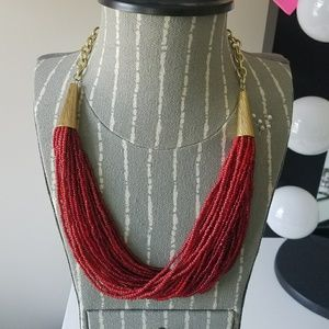 Red & Gold Multi-Strand Beaded Statement Necklace